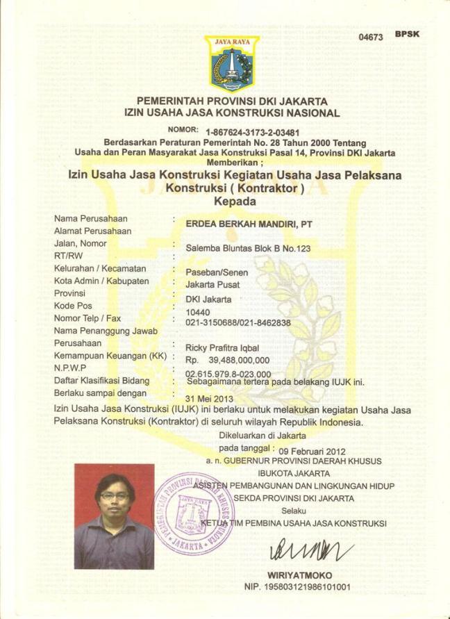 Surat Ijin Usaha Jasa Konstruksi Siujk Sertifikasi Indonesia