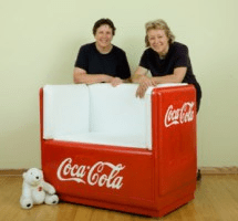 Marge & Mary turned this old Coke cooler into a couch!