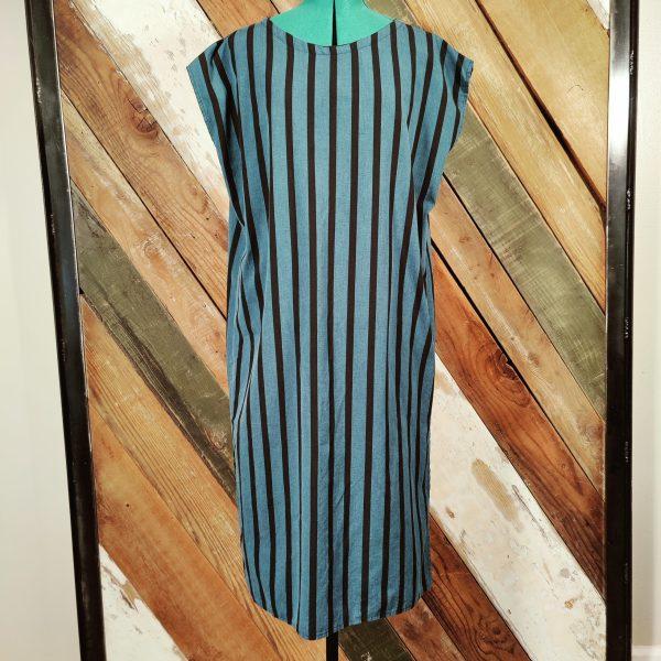 Long shift dress blue black stripes without belt
