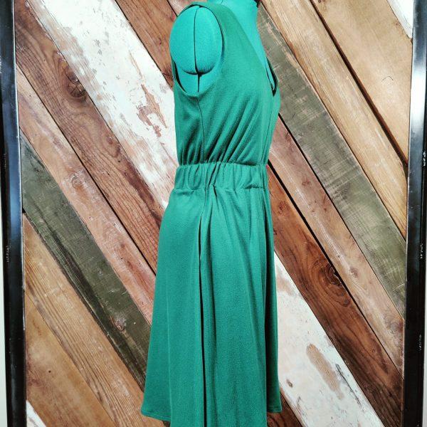 Green knit v neck elastic waist side