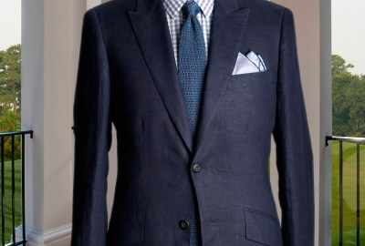Dark Custom Linen Suit NYC