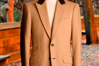 Camel Hair Jacket With Brown Suede Collar Size 38 Trim