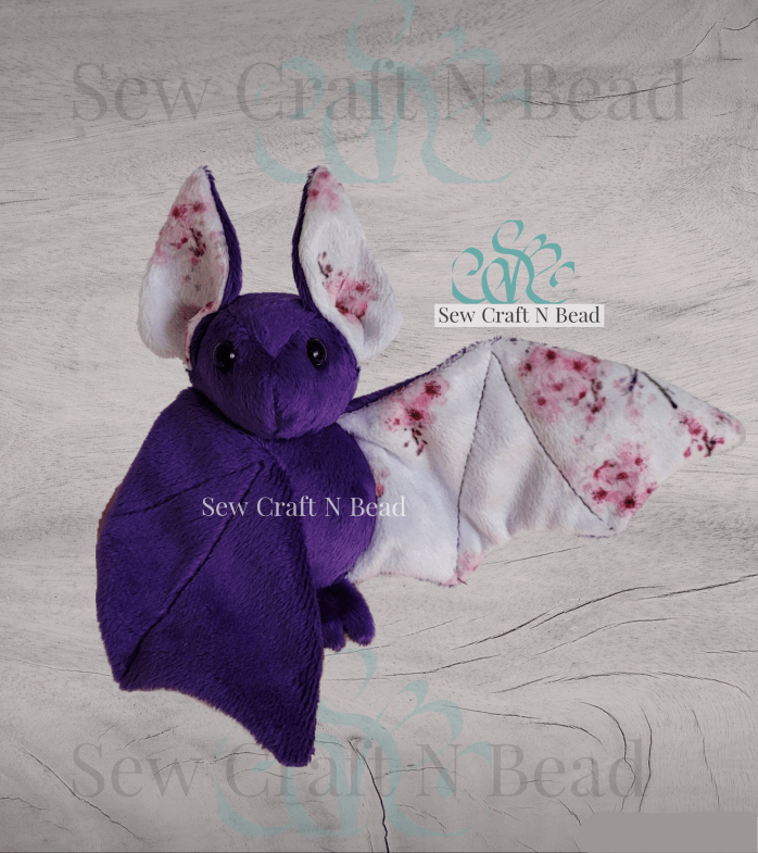 Purple Japanese Cherry Blossom Bat Plush