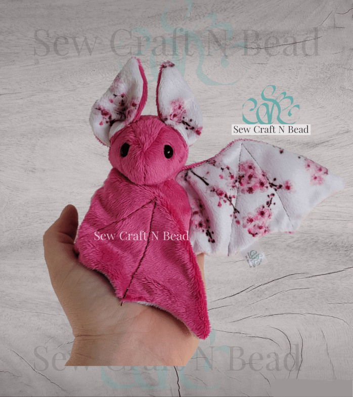 Fushia Japanese Cherry Blossom Bat Plush