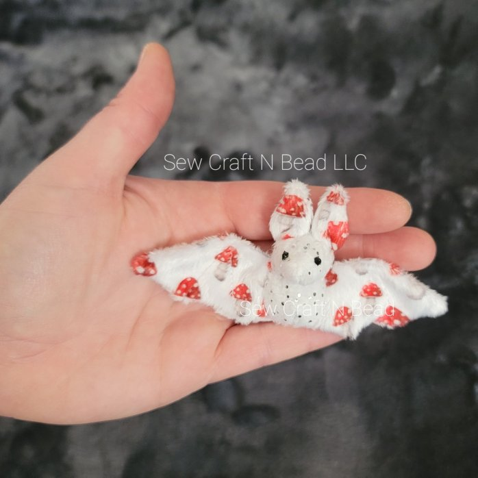 Mini Size White Silver Sparkle Mushroom Bat Plush