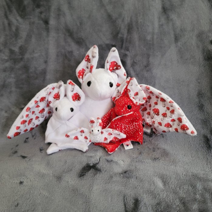 Mushroom Bat Plush Family Portrait