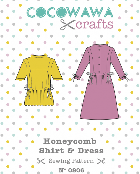 Honeycomb-Shirt-Dress-sewing-pattern-Front-Cover-CocoWawa-Crafts-570x708
