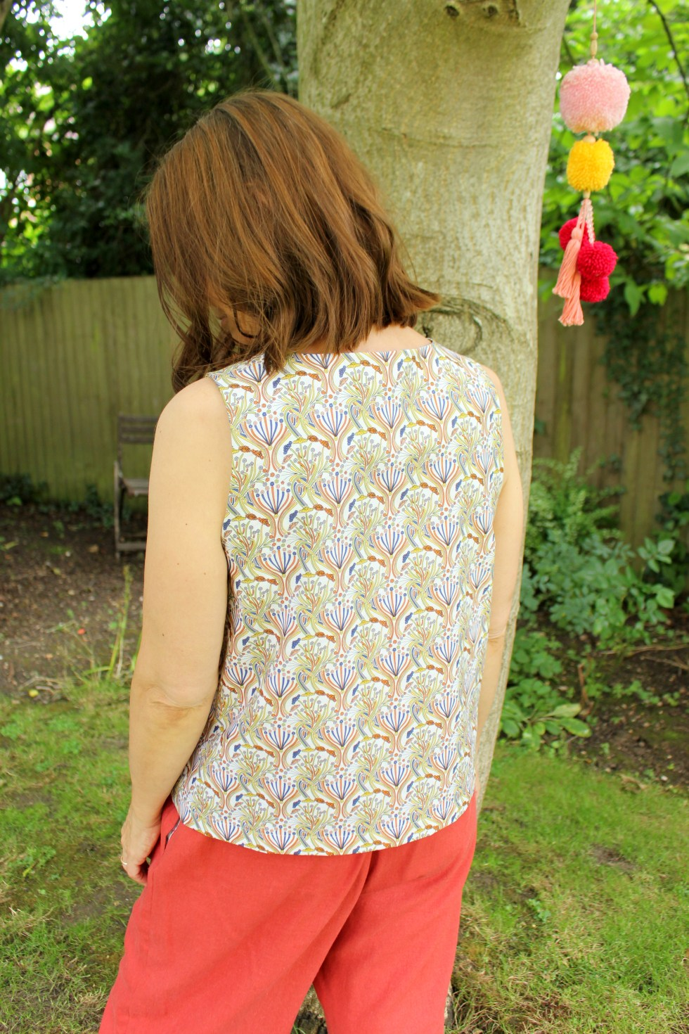 gathered sleeve edge Blouse Boho style one of a kind handmade mustard and brown printed cottonspandex knit fabric top MED