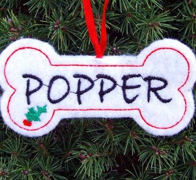 Personalized Embroidered Dog Christmas Ornament