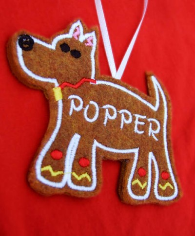 Embroidered Gingerbread Dog Ornament