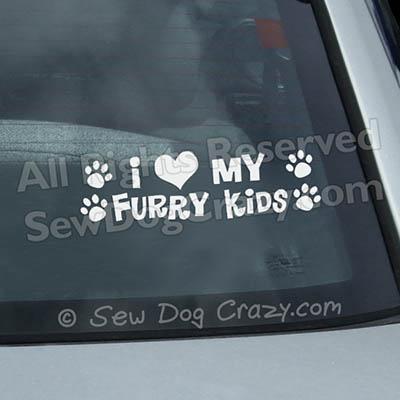 I Love my Furry Kids Car Window Stickers