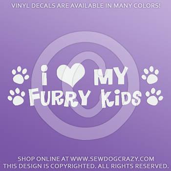 I Love my Furry Kids Car Decals