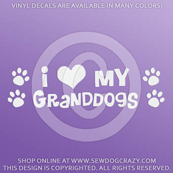 I Love my Granddogs Car Decals