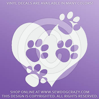 Paw Prints on Heart Decal
