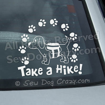 Dog Hiking Window Stickers