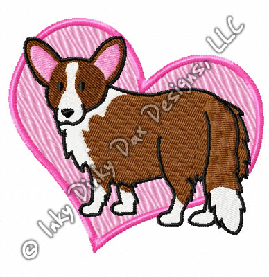 Love Cardigan Welsh Corgi Embroidery