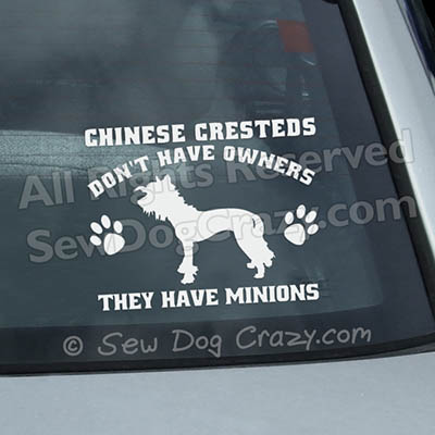 Funny Chinese Crested Window Stickers