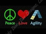 Peace Love Dog Agility Embroidery