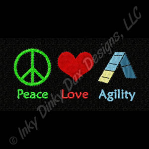 Peace Love Dog Agility Embroidery