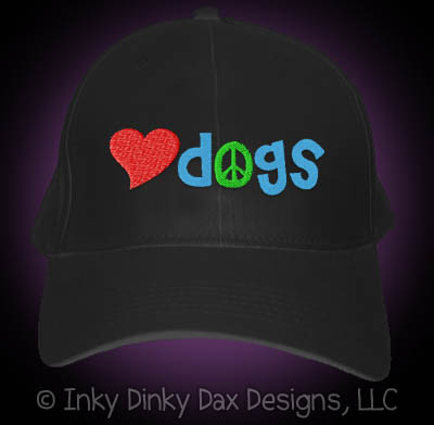 Embroidered Peace Love Dogs Hat