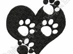 Paw Prints on Heart Embroidery