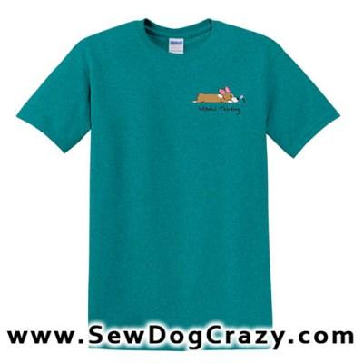 Embroidered Cartoon Corgi Tshirt