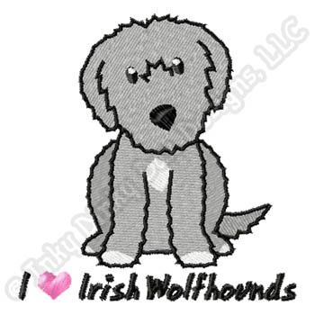Cartoon Irish Wolfhound Embroidery