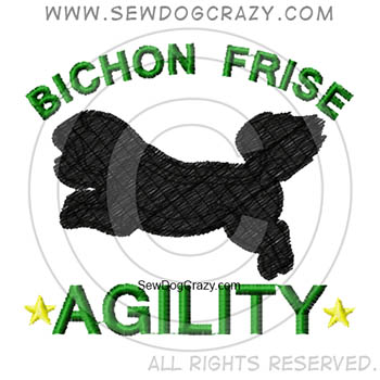 Embroidered Bichon Frise Agility Shirts