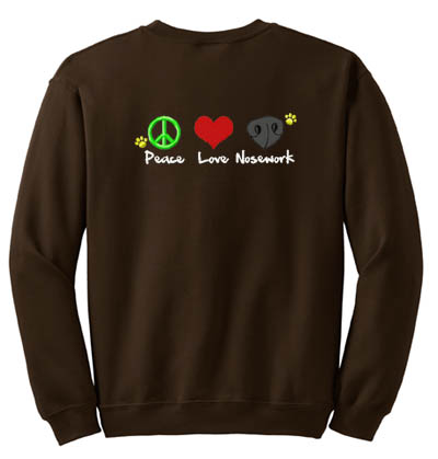 Peace Love Nosework Embroidered Sweatshirt