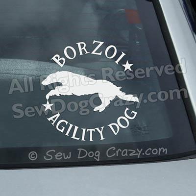Borzoi Agility Car Window Stickers