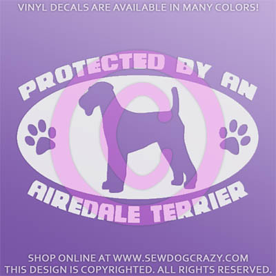 Protected by an Airedale Car Decal