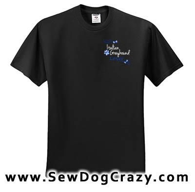 Embroidered Italian Greyhound TShirts