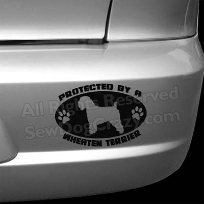 Protected by a Wheaten Terrier Bumper Sticker