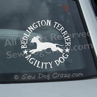 Bedlington Terrier Agility Car Window Stickers