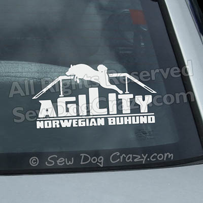 Norwegian Buhund Agility Car Window Stickers