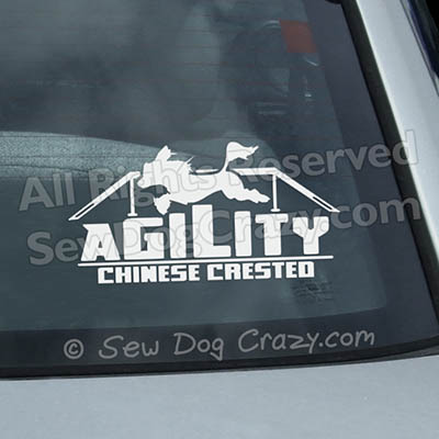 Chinese Crested Agility Window Stickers