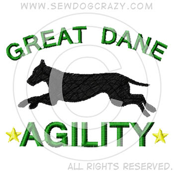 Embroidered Great Dane Agility Shirts