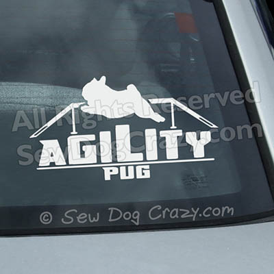 Vinyl Pug Agility Window Decals