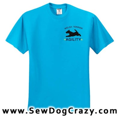 Embroidered Welsh Terrier Agility Tshirts