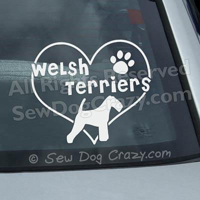 Love Welsh Terriers Vinyl Decals