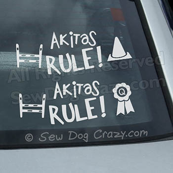 Akitas Rule Car Window Sticker