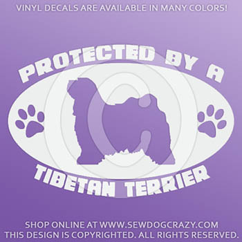Protected by a Tibetan Terrier Car Decal