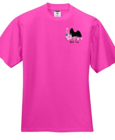 Hibiscus Shih Tzu Embroidered T-Shirt