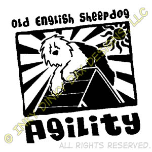 Funny Cartoon Old English Sheepdog Agility Apparel