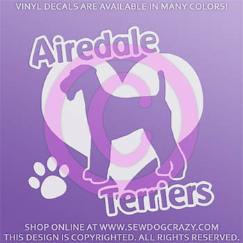 I Love Airedale Terriers Decal