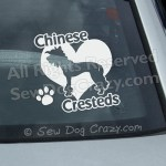 Love Chinese Cresteds Car Stickers