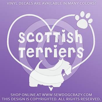 Heart Scottish Terriers Decals