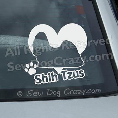 Love Shih Tzus Car Decals