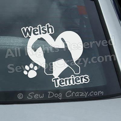 Love Welsh Terrier Window Decals