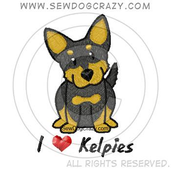 Embroidered Cartoon Kelpie Shirts
